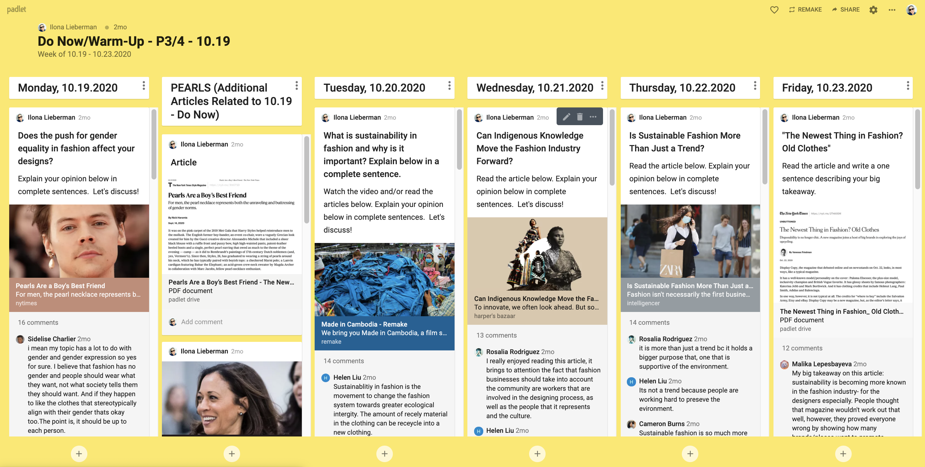 'Do Now' Padlet Example 2