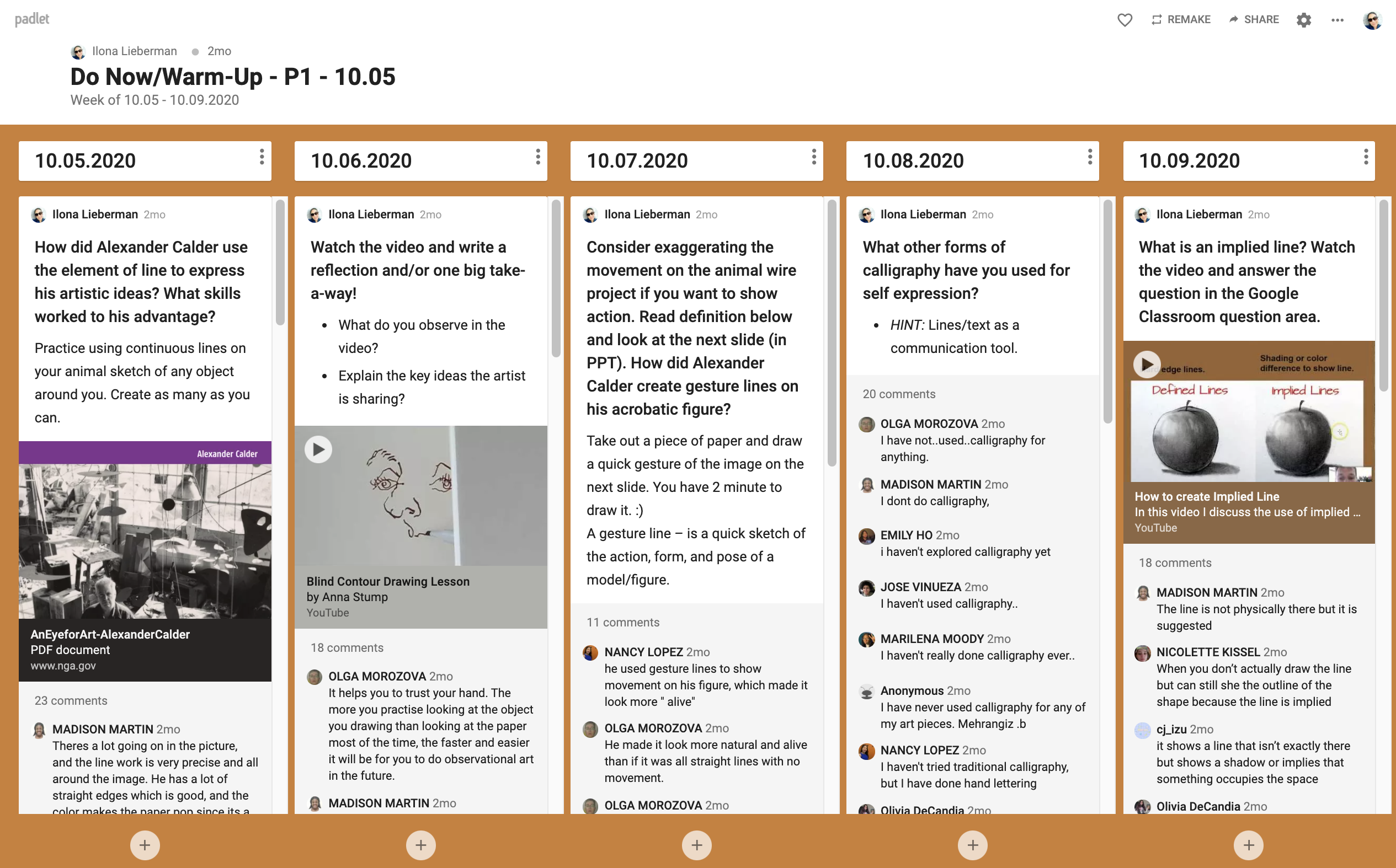 'Do Now' Padlet Example 3