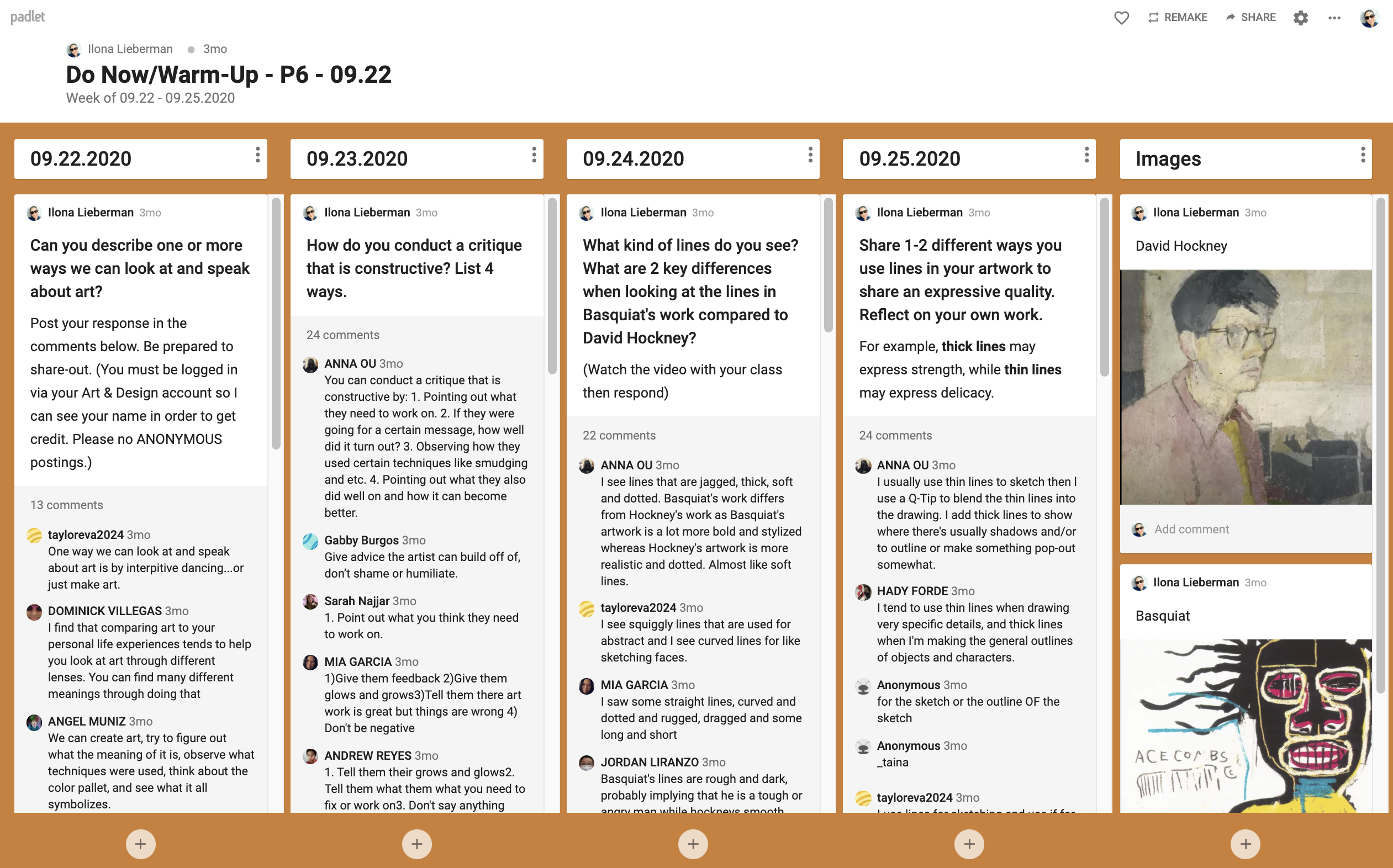 'Do Now' Padlet Example 4