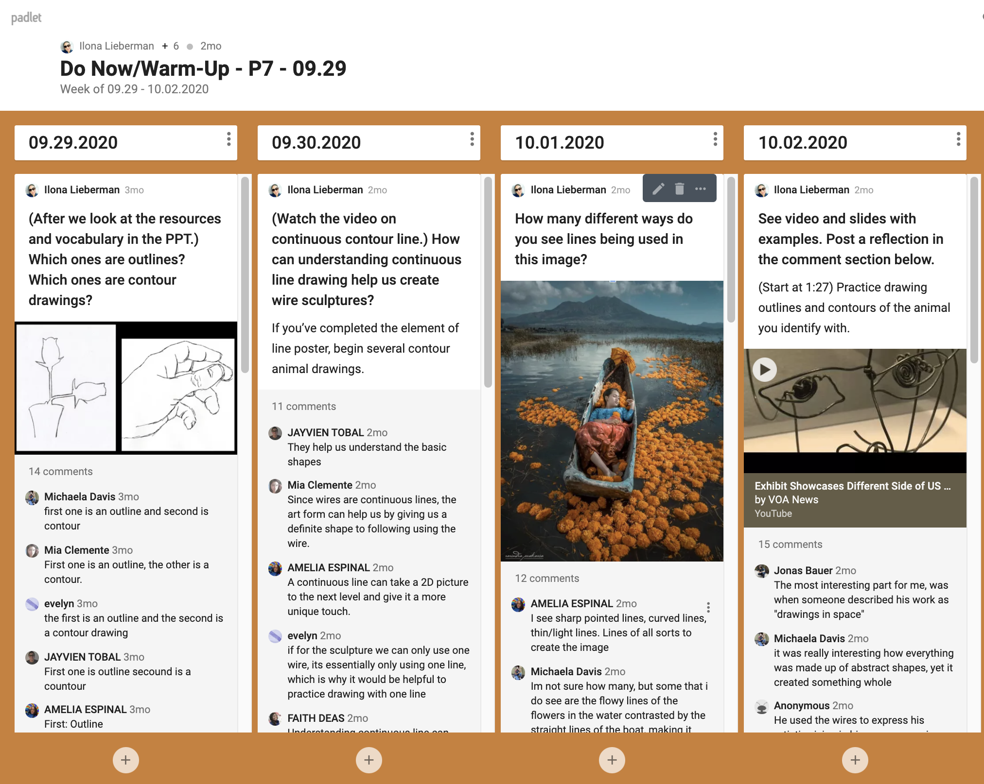 'Do Now' Padlet Example 5